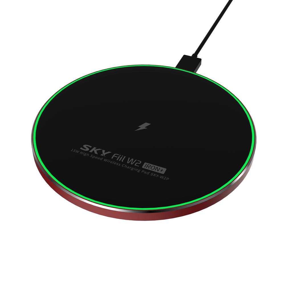 SKY 필 W2 아이언+ 15W 고속 무선충전기 패드 SKY-W2P, 블랙 + 레드, 1개