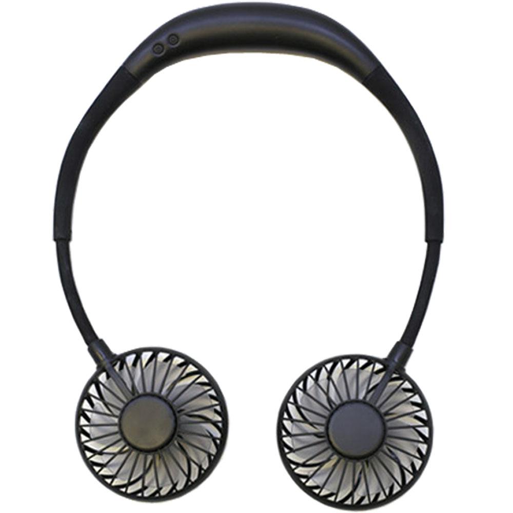 넥밴드 선풍기 듀얼팬 목걸이 휴대용선풍기, 블랙