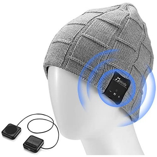 LNKK Bluetooth Beanie Hat Stylish Knitted Music Beanie Hat Cap with HD Stereo Headphones Earphones Headset Speaker Mic Hands-Free Talking for Men, 본문참고, 옵션 4 Color = P202lg-light Grey