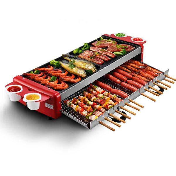 대용량 가정용 반반 멀티 전기불판 와일드 한혜진 불판 고기판 박세리 꼬치구이 닭꼬치 전기 그릴, 듀얼 멀티 전기그릴, 단일색상
