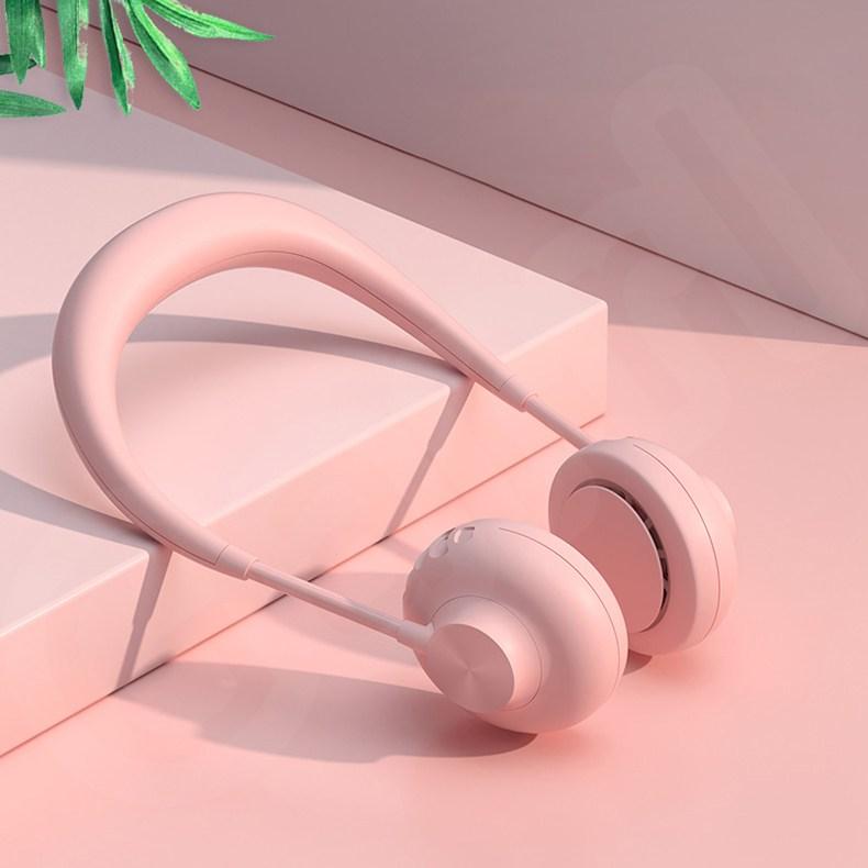 Garrl 넥밴드 선풍기 목걸이 저소음 3단계 풍력 각도조절 USB충전식, 핑크